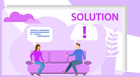 Solution to the problem. A man and a woman are sitting on a sofa and solving a problem. Thinking out loud. Vector illustration of a problem solving concept. Illustration