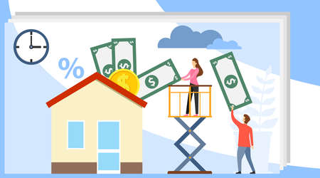 Buy real estate. Mini people buy a house for money. A real estate agent holds out a hand with a house offering to buy it. Flat vector illustration.