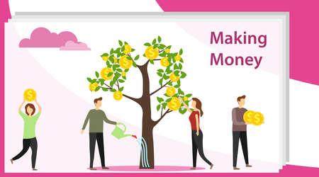 Making money. Mini people collect coins from a money tree and water it. Flat concept vector illustration of making money. Stock Illustratie