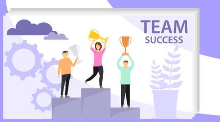 Time to win. Mini people stand on the victory pedestal and hold trophies. Flat winner concept vector illustration. Иллюстрация