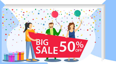 A group of people holds a sale banner. Sale discount 50 . Attracting buyers. Group of people with a banner in their hands and the inscription sale. Vector illustration.