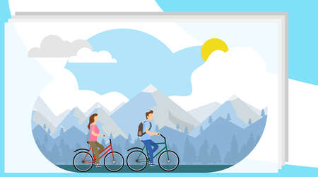 Biking, cycling. A man and a woman ride a bicycle against the backdrop of the cityscape. Vector illustration, vector.