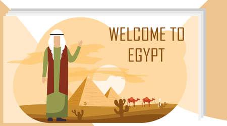 Bienvenue en Egypte. Un Égyptien se tient au milieu des pyramides égyptiennes et une caravane de Bédouins et salue. Illustration vectorielle du concept de voyage en Egypte.