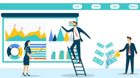 Businessmen working together on a business idea. The concept of marketing and finance. Financial business development strategy. Vector illustration in flat design style.