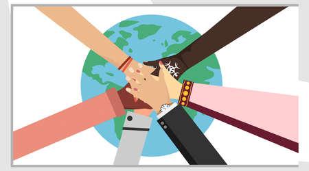 異なる人々の手が一緒に置く。パートナーシップの概念、チームスピリット、協力、協力、地球の背景上の人々の団結。フラットなデザインでのベクトルイラストレーション。
