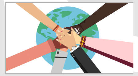 Hands of different people putting together. The concept of partnership, team spirit, cooperation, cooperation, unity of people on the background of planet Earth. Vector illustration in flat design.