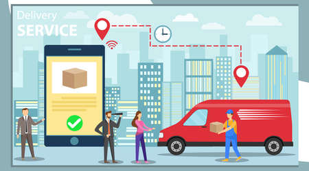 Delivery service. Service delivery of goods. A group of mini people order goods through a mobile phone. Delivery of goods against the backdrop of the urban landscape. Vector illustration, vector.