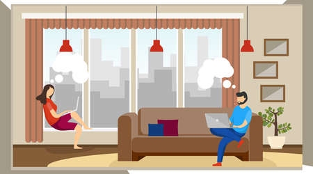 Man and woman freelancers work at home. Remote work at home. A man and a woman are sitting in a room and working on a laptop. Vector illustration, vector.