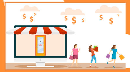 Womens shopping. Women go shopping with shopping. Online shopping. Computer monitor in the form of an online store. Vector illustration, vector.
