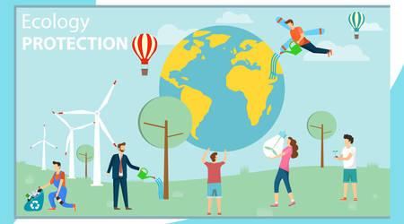 Protezione ambientale. Protezione ecologica. Un gruppo di mini persone si prende cura dell'ambiente e protegge l'ambiente. Illustrazione vettoriale, vettore. Vettoriali