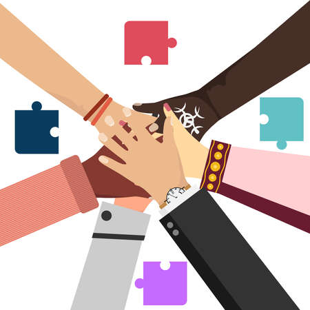 Partnership, interaction, teamwork, cooperation. Businessmen shake hands with each other. Tied hands. Hands smoothing the puzzle. Vector illustration of partnership concept in flat style.