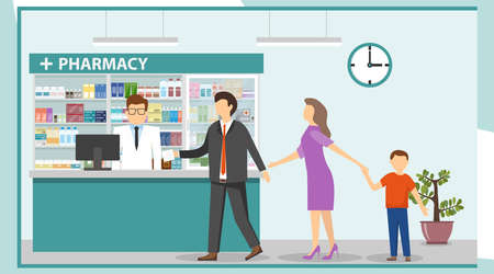 A pharmacist in a pharmacy serves customers. Interior pharmacy with drugs. People stand in line at the pharmacy. Vector illustration, vector.
