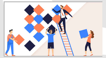 People assemble an abstract design. The concept of organization and arrangement. Men and women assemble an abstract design of colored rhombuses. Vector illustration in a flat design.