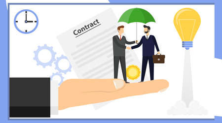 Make a deal. Two businessmen are shaking hands. Two businessmen made a deal on a man s giant hand. Vector illustration of a successful deal concept. Illusztráció