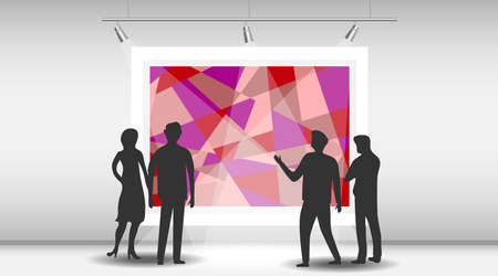 A group of people are watching a picture in an art gallery. Silhouettes of people look at an abstract painting in a museum. Vector cartoon illustration in flat design.