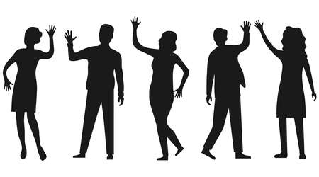 Silhouettes of people waving hand isolated on white. People wave their hands and greet each other. Vector, cartoon illustration of waving people. Vector.