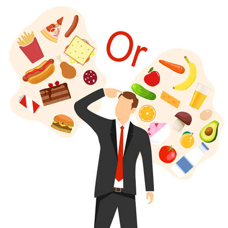 A man chooses between healthy and unhealthy food. Healthy and balanced foods versus fast food and greasy foods. Flat, cartoon vector illustration. Vector. Иллюстрация