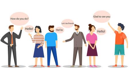 Les gens se saluent et se parlent. Les gens communiquent. Concept de conversation d'hommes et de femmes isolés. Illustration de vecteur de dessin animé à plat