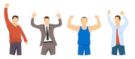 Portraits of successful and confident people. People are winners. Businessman, athlete, office worker, student. Winner man.Flat, vector cartoon illustration. Vector Ilustracja