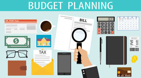 Budget planning. A person plans his financial expenses for a month. The concept of budget planning top view. Vector cartoon concept of financial family spending plan.