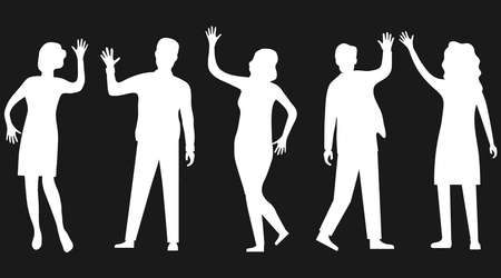 Silhouettes of people waving hand isolated on black. People wave their hands and greet each other. Vector, cartoon illustration of waving people. Vector.
