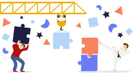 Teamwork and time to build. People and mechanisms assemble the puzzle into a common drawing. Teamwork. People together with a crane assemble a puzzle. Vector, cartoon illustration. Vector. Archivio Fotografico - 133178747