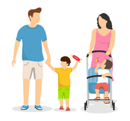 Happy family isolated on a white background. Mom with a pram and her son walks. Dad goes hand in hand with his son. Vector, cartoon illustration of a happy family concept