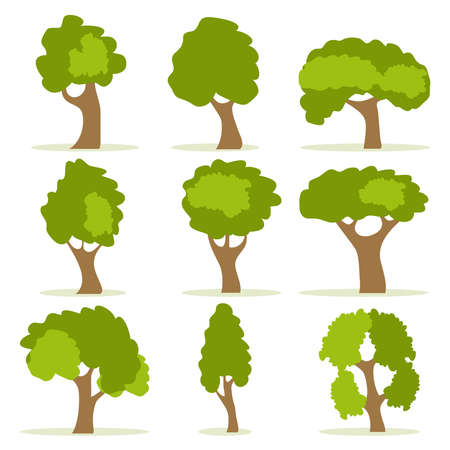 Set of green trees with shadow. Set of nine trees isolated on a white background. Vector, cartoon illustration of trees. Stock Illustratie