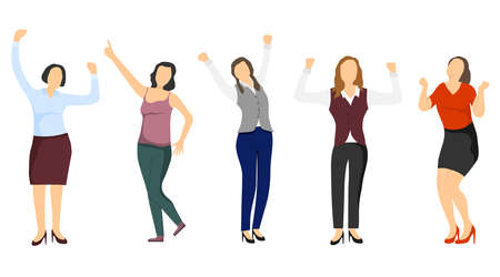 Successful women, confident women. Business lady, business woman. Successful people. Vector cartoon illustration Vector Vector Illustration