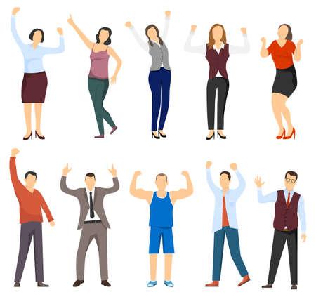 Successful women and men. Men and women are winners. Businessmen and business women. Successful people. Vector, cartoon illustration. Vector.
