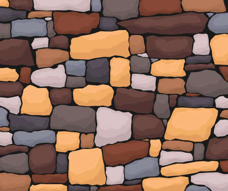 Stone work. Masonry made of old stone. Set of stones of different shapes and colors. Vector, cartoon illustration. Vector. Illusztráció