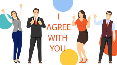 I agree with you. A group of mini characters of people gives their consent to a profitable cooperation. Partnership consent concept vector illustration. Vector.