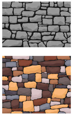 Stone work. Masonry made of old stone. Set of stones of different shapes and colors. Vector, cartoon illustration.