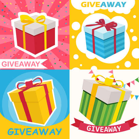 Distribution of gifts. Banner with a gift offer. Advertising banner of the winner. Winning gifts. Vector illustration of a winner concept. Vector.