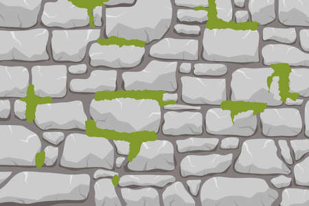 A wall of stone, a stone wall overgrown with moss. Masonry made of gray stone.