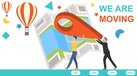Moving a website. We moved. A business man and woman carry a location mark on their hands. Office relocation concept. Stock Illustratie