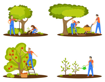 Agricultural workers. Harvesting, tree planting, tree care, watering Gardening vector illustration Vector 일러스트