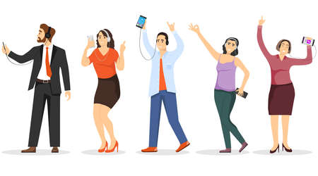 People with smartphones in their hands listen to music on headphones. Mini characters of people with smartphones in their hands listen to music and rejoice.