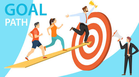 Path to goal, goal achievement, motivation for success. People run up the arrow to the goal. Vector illustration of motivation. Vector.