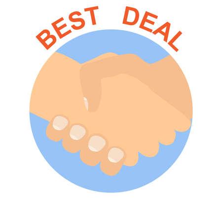 Successful deal. Handshake. Two businessmen shake hands after making a great deal. Vector, cartoon illustration of a deal concept. Vector. Ilustração