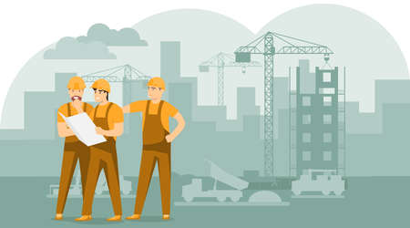 Engineers and builders are planning work on a construction site. Builders are looking at the drawing. Builders are looking at the construction plan of the building. Vector, cartoon illustration.
