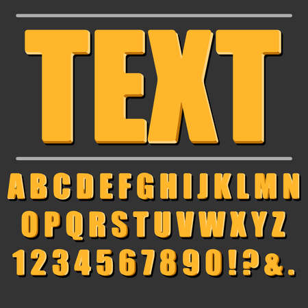Realistic orange text on a black background with volume letters and shadow. Alphabet, text, font, letters. Vector illustration. Vector.