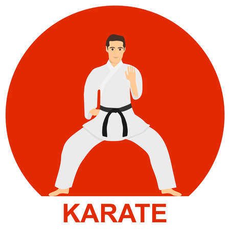 Karate man in a white kimono with a black belt on a background of red sun. Karate master. Vector illustration. Vector.