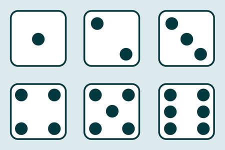 Dés, jeu de dés vintage isolé sur fond clair. Illustration vectorielle de dés. Vecteur.