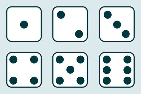 Dice, set of vintage dices isolated on a light background. Vector illustration of dice. Vector.