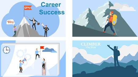 The path to the top. Mountain climbing. Career. Vector illustration of career growth. Vector.