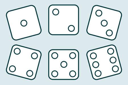 Dice, set of vintage dices isolated on a light background. Vector illustration of dice. Vector. Ilustração