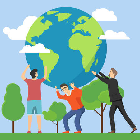 People holding Earth. People protect and protect the environment. Vector illustration. Vector.