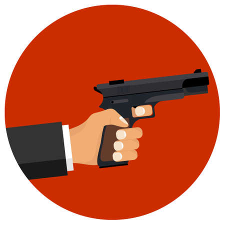 Hand holds a gun. Hand with a gun on a red background. Vector illustration. Vector. Ilustrace