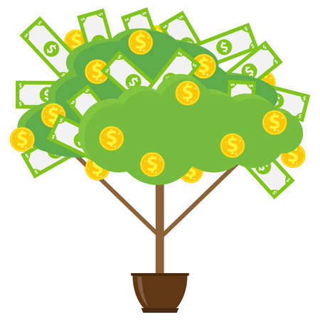 Money tree in a flowerpot. Money tree with paper money and gold coins. Vector illustration of money. Vector. Zdjęcie Seryjne - 139598870
